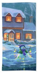 Hand Towel featuring the painting Snowy Bright Night by Michael Humphries