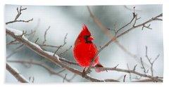 Snowy Cardinal Hand Towel