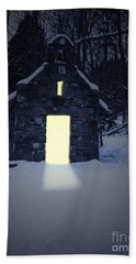 Snowy Chapel At Night Bath Towel