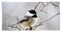 Snowy Chickadee Bird Hand Towel by Christina Rollo