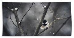 Snowy Chickadee Hand Towel