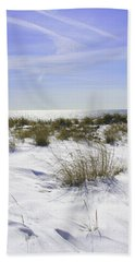 Bath Towel featuring the photograph Snowy Dunes by Karen Silvestri