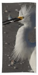 Snowy Egret Fishing Hand Towel by Meg Rousher