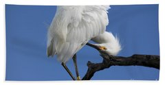 Hand Towel featuring the photograph Snowy Egret Photograph by Meg Rousher