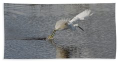 Snowy Egret Wind Sailing Bath Towel by John M Bailey