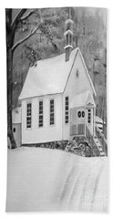 Snowy Gates Chapel -white Church - Portrait View Bath Towel