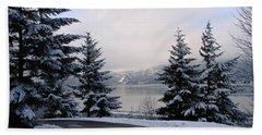 Snowy Gorge Bath Towel by Athena Mckinzie
