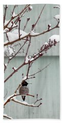 Hand Towel featuring the photograph Snowy Hummingbird by Victoria Harrington