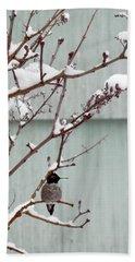 Bath Towel featuring the photograph Snowy Hummingbird by Victoria Harrington