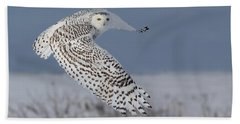 Snowy In Action Hand Towel by Mircea Costina Photography