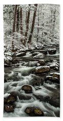 Bath Towel featuring the photograph Snowy Mountain Stream by Debbie Green