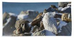 Snowy Owl On A Rock Pile Bath Towel
