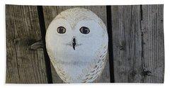Snowy Owl Rock Hand Towel