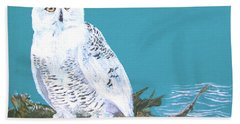 Bath Towel featuring the painting Snowy Owl by Seth Weaver