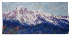 Bath Towel featuring the painting Snowy Peaks by Margaret Bobb