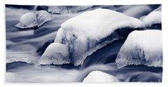 Bath Towel featuring the photograph Snowy Rocks by Liz Leyden
