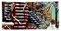Snowy Steps The Red Staircase In Winter In Verdun Montreal Paintings City Scene Art Carole Spandau Bath Towel