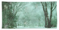 Snowy Winter Night Hand Towel by Mary Wolf