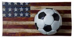Soccer Ball And Stars And Stripes Hand Towel by Garry Gay