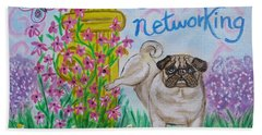 Hand Towel featuring the painting Social Networking Pug by Diane Pape