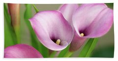 Soft Pink Calla Lilies Bath Towel