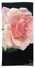 Bath Towel featuring the photograph Soft Pink Rose 1 by Jeannie Rhode