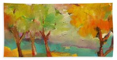 Hand Towel featuring the painting Soft Trees by Michelle Abrams