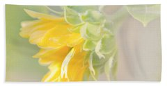 Bath Towel featuring the photograph Soft Yellow Sunflower Just Starting To Bloom by Patti Deters