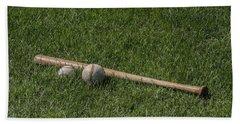 Softball Baseball And Bat Hand Towel by Bill Cannon