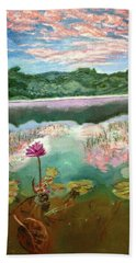 Bath Towel featuring the painting Solitary Bloom by Belinda Low