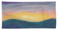 Hand Towel featuring the painting Blue Yellow Nocturne Solitary Landscape by Judith Cheng
