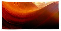 Hand Towel featuring the photograph Somewhere In America Series - Red Waves In Antelope Canyon by Lilia D