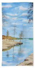 Bath Towel featuring the painting Somewhere In Dalarna by Martin Howard