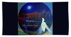 Song Of The Silent  Autumn Night In The Round With Text  Hand Towel