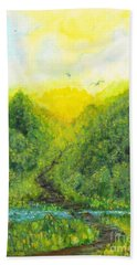 Hand Towel featuring the painting Sonsoshone by Holly Carmichael