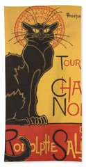 Soon The Black Cat Tour By Rodolphe Salis  Bath Towel by Tracey Harrington-Simpson