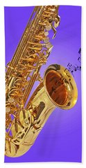 Sounds Of The Sax In Purple Bath Towel by Gill Billington