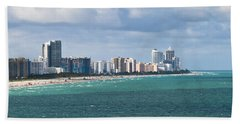 South Beach On A Summer Day Hand Towel