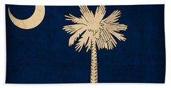South Carolina State Flag Art On Worn Canvas Hand Towel
