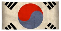 South Korea Flag Vintage Distressed Finish Hand Towel