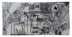 Hand Towel featuring the mixed media Southernmost House  Key West Florida by Diane Pape