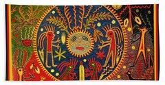 Bath Towel featuring the digital art Southwest Huichol Del Sol by Vagabond Folk Art - Virginia Vivier