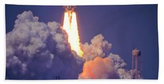 Space Shuttle Challenger Sts-6 First Flight 1983 Photo 1  Bath Towel by Marie Hicks