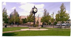 Bath Towel featuring the photograph Sparks Community Clock by Bobbee Rickard