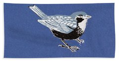Sparrow, 2013 Woodcut Hand Towel