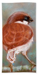 Hand Towel featuring the pastel Sparrow by Jasna Dragun