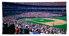 Spectators In A Baseball Stadium, Shea Hand Towel