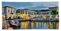 Spetses Town During Dusk Time Bath Towel