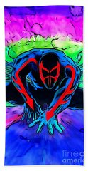 Bath Towel featuring the drawing Spider-man 2099 Illustration Edition by Justin Moore