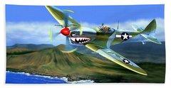 Spitfire Over Hawaii Hand Towel by Glenn Holbrook